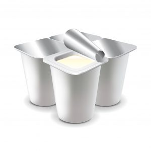 51705810 - four yogurt cups isolated on white photo-realistic vector illustration